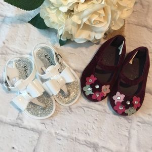 Baby White Sandals and Burgundy flats Size 4